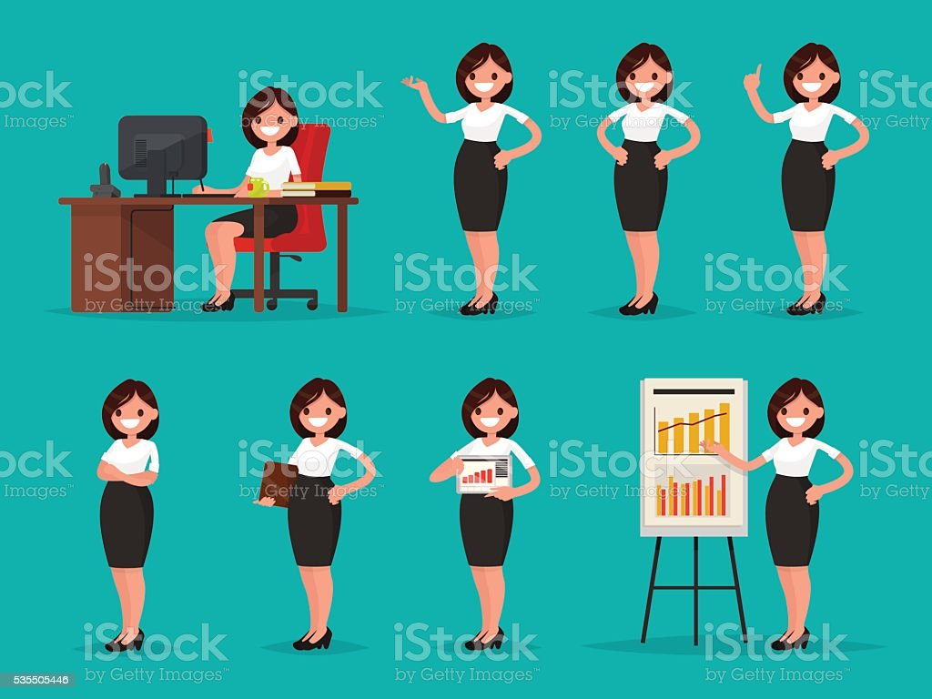Set woman office worker in various situations. Vector illustration vector art illustration