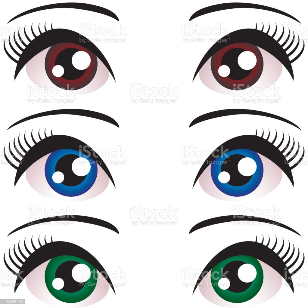 set Women eyes with long eyelashes. Blue, brown, green. Vector vector art illustration