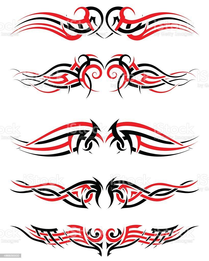 Setof Tribal Tattoos vector art illustration