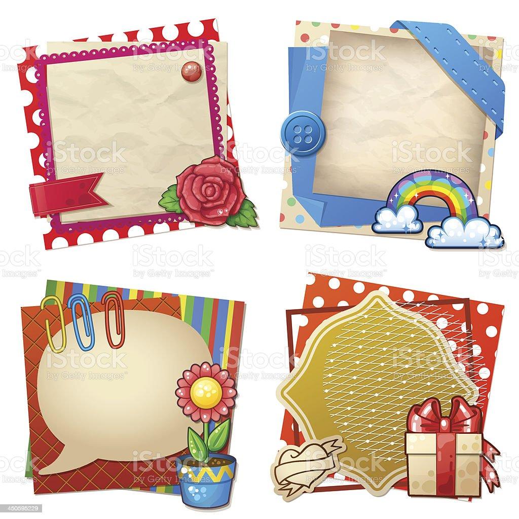 Sets of paper and other items for scrapbooking royalty-free stock vector art