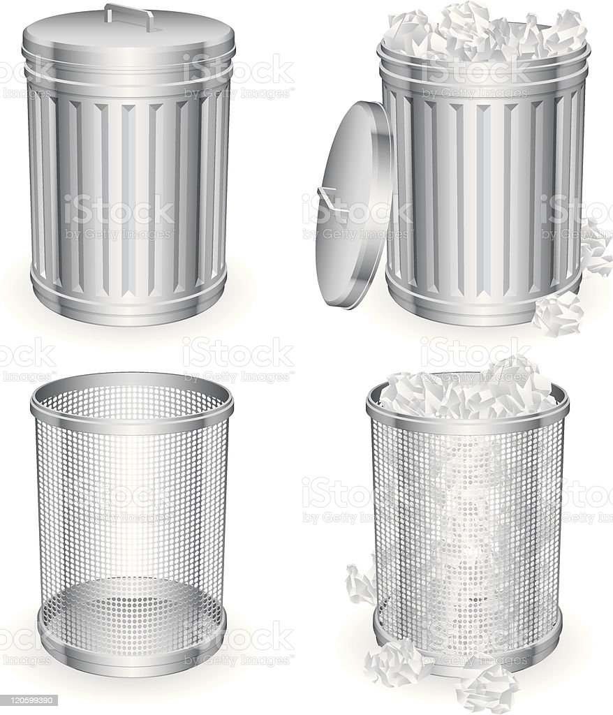 2 sets of silver metal trashcans, full and empty vector art illustration