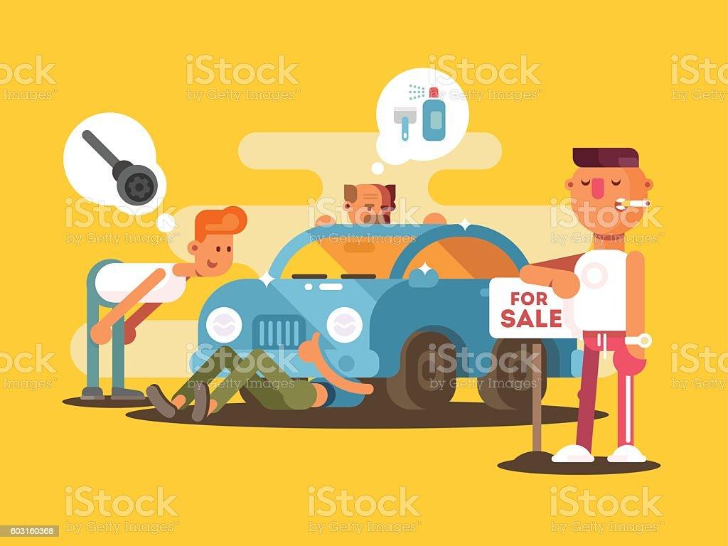 Setting car for sale vector art illustration