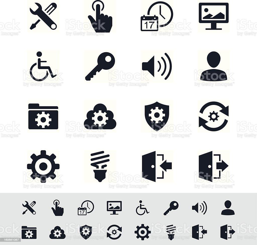 Setting icon set - simplicity theme vector art illustration