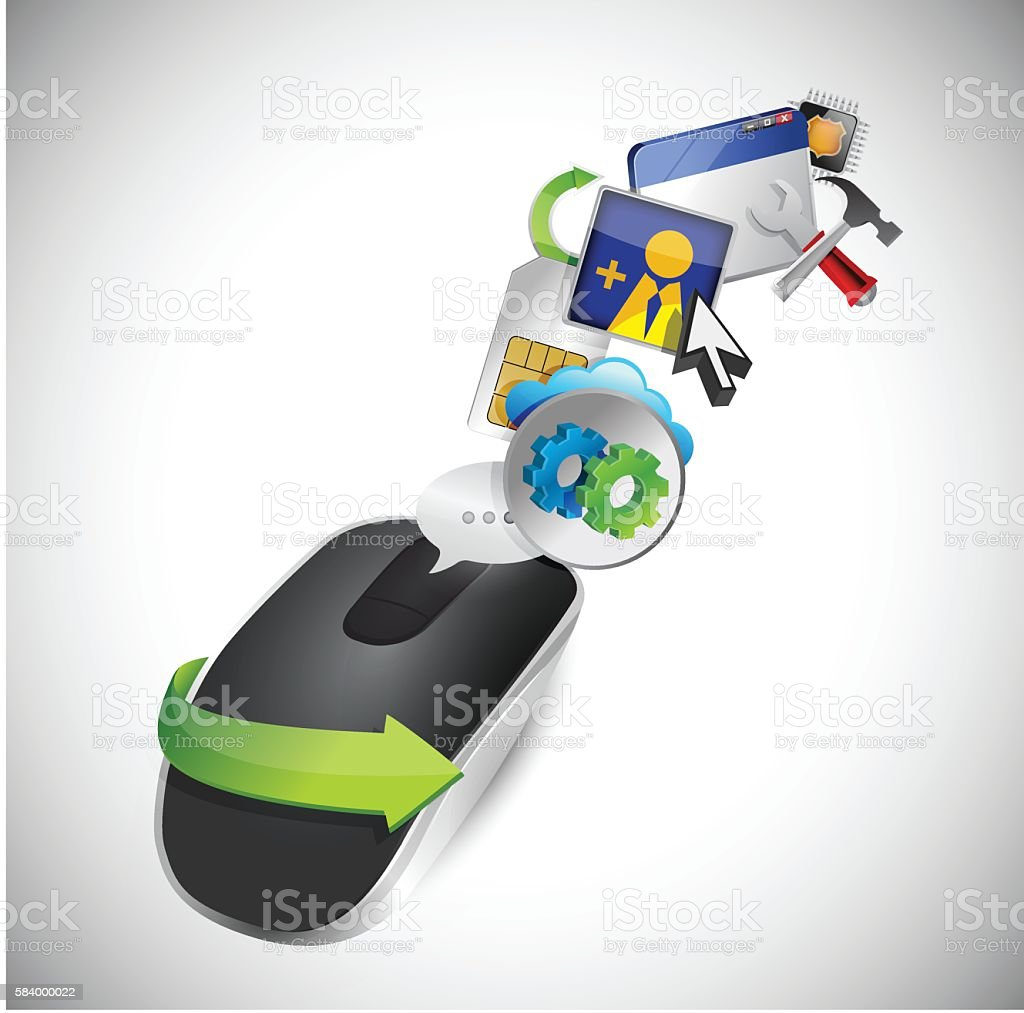 setting tools. Wireless computer mouse isolated on white backgro vector art illustration