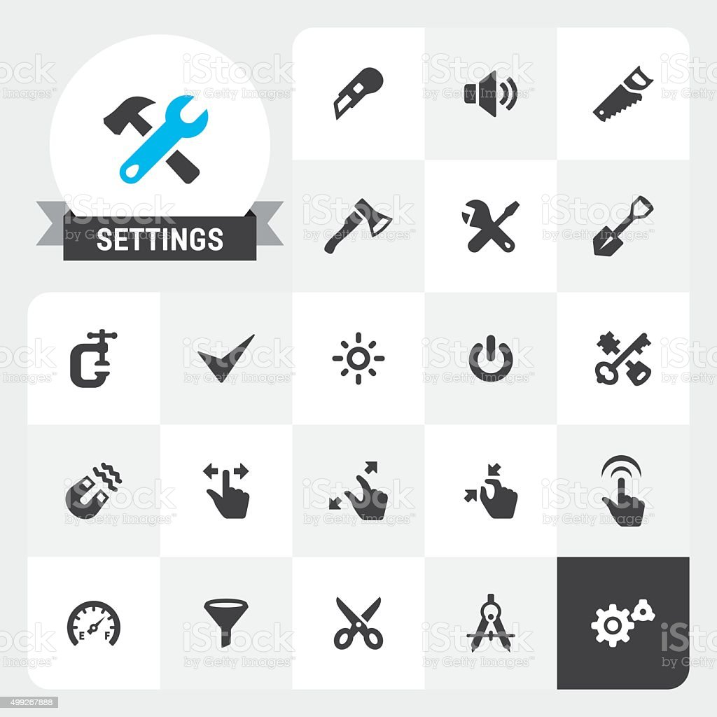 Settings and Tools base vector icons and label vector art illustration