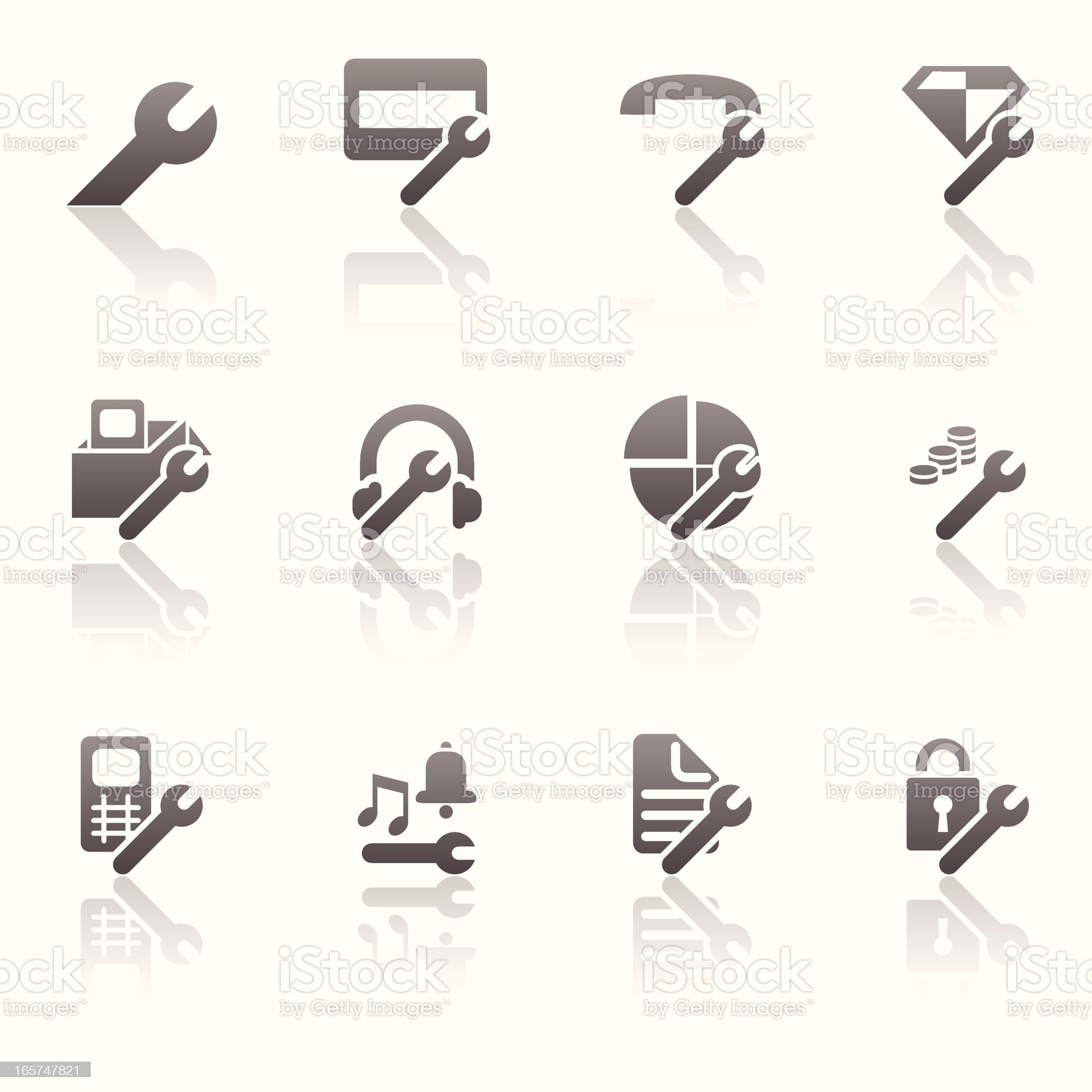 Settings Icon Set royalty-free stock vector art