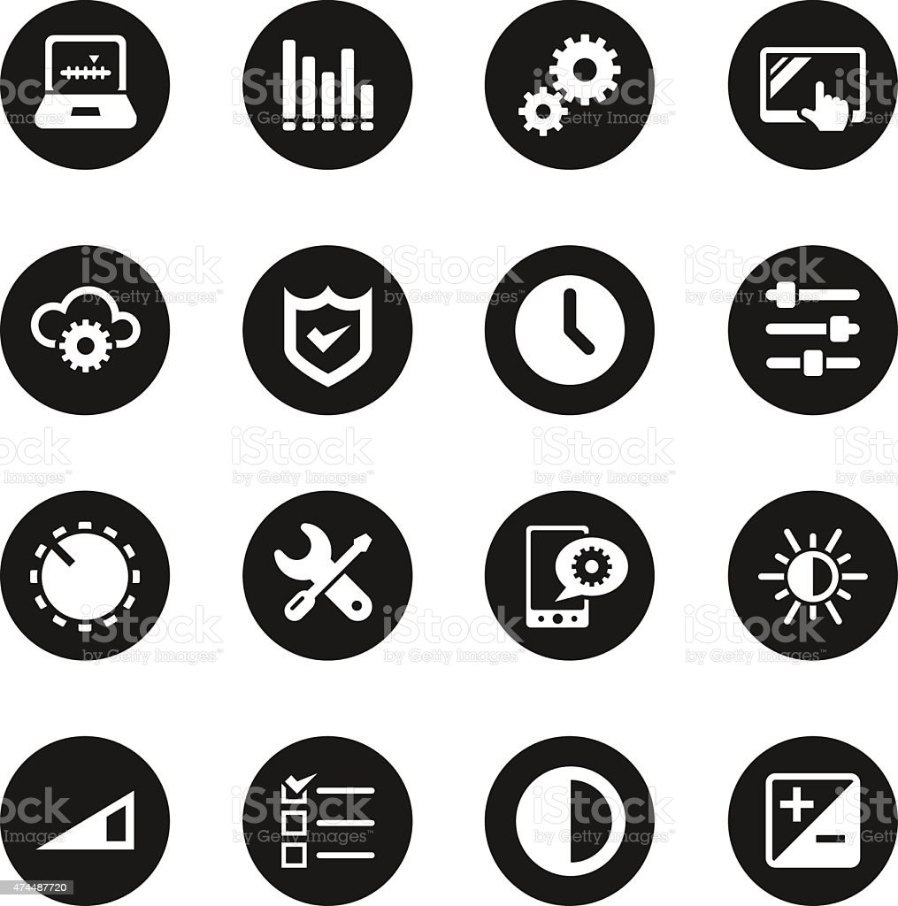 Settings Icons - Black Circle Series vector art illustration
