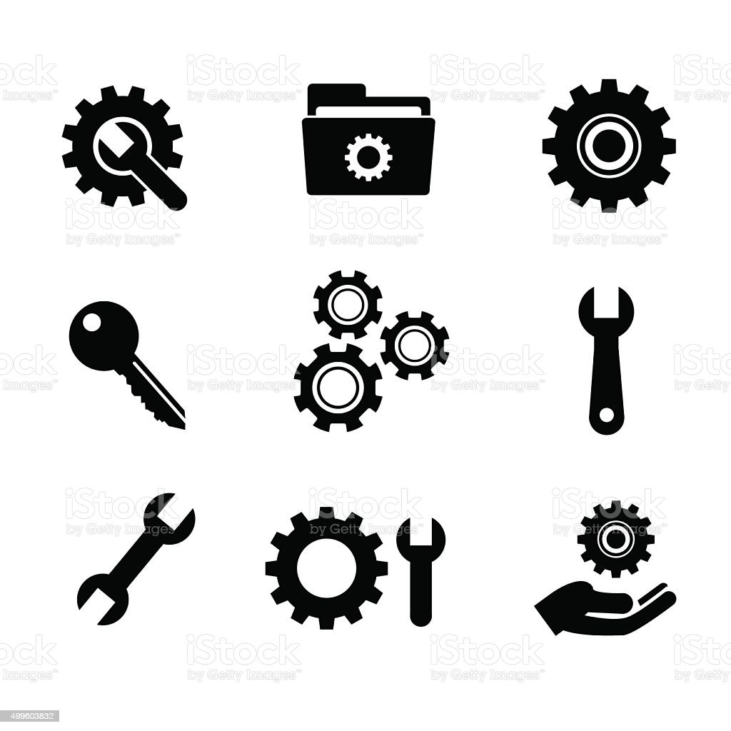 Settings, service, repair icon set. vector art illustration