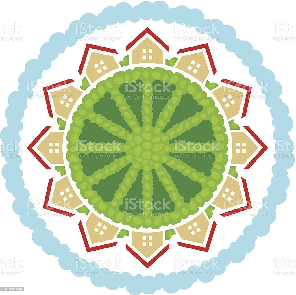 Settlement community in social connected worldsocial business  logo royalty-free stock vector art