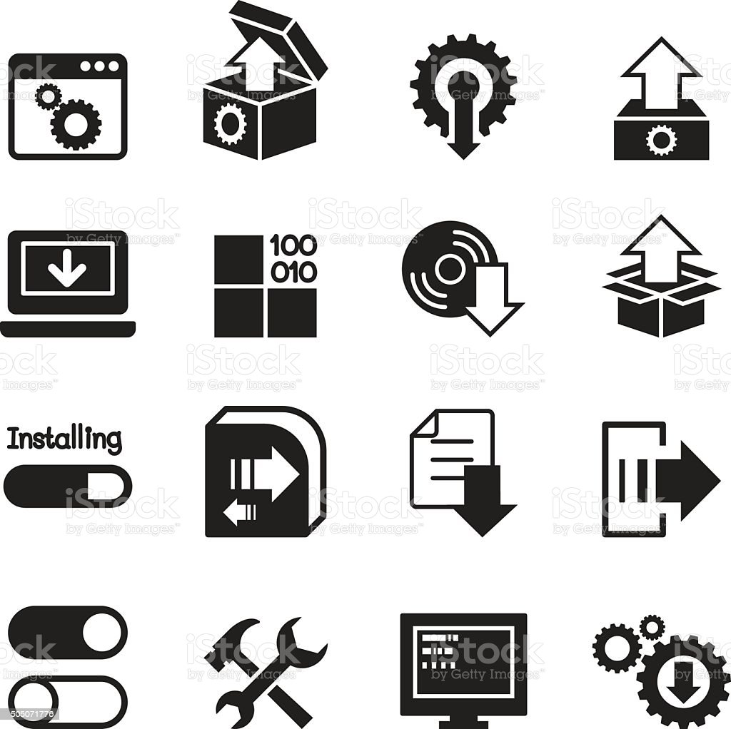 Setup , configuration, maintenance & Installation icons vector art illustration