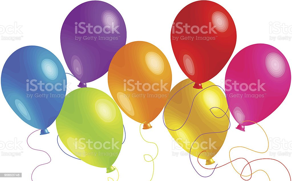 Seven Beautiful Party Balloons royalty-free stock vector art