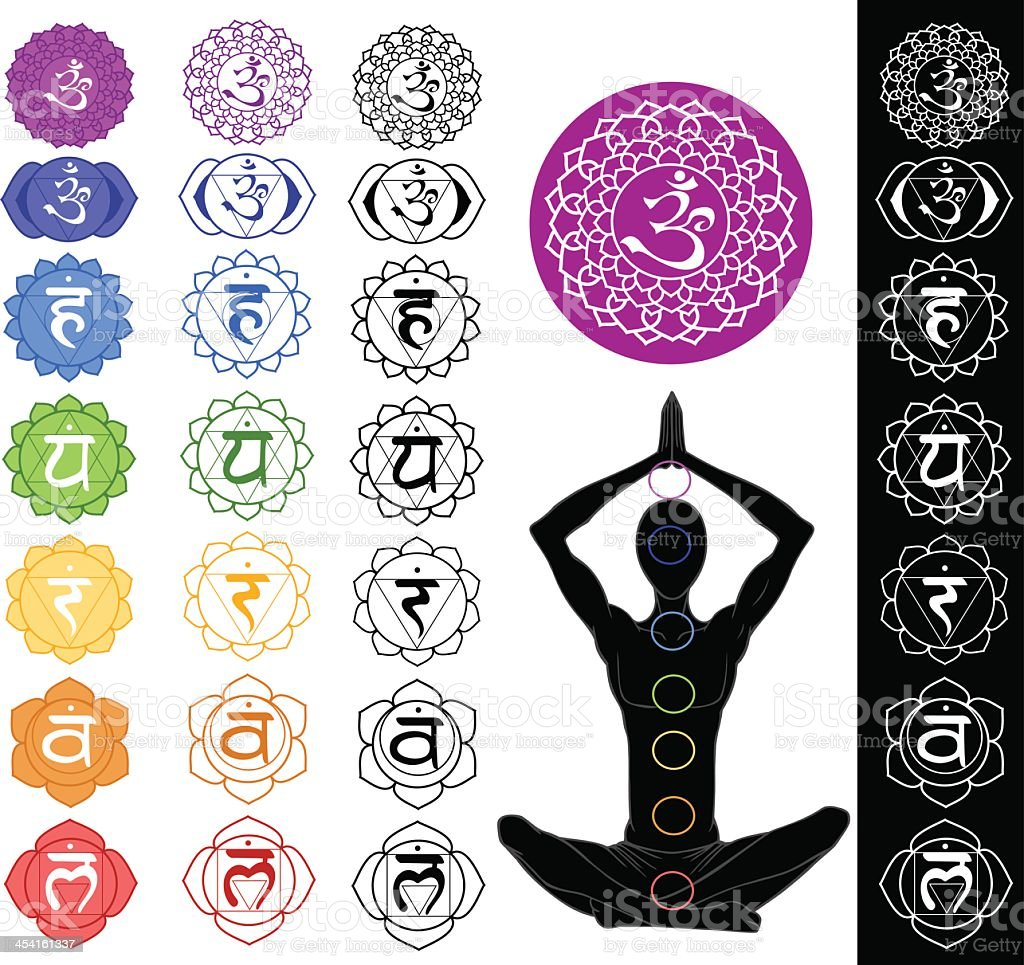 Seven chakra logos in different colors vector art illustration