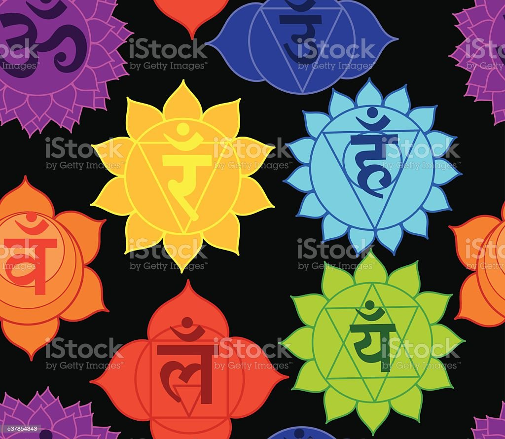 Seven Chakra Seamless Design vector art illustration