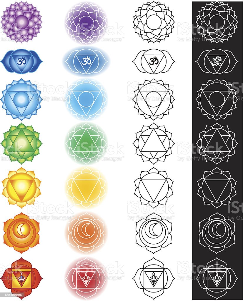 Seven chakras vector art illustration