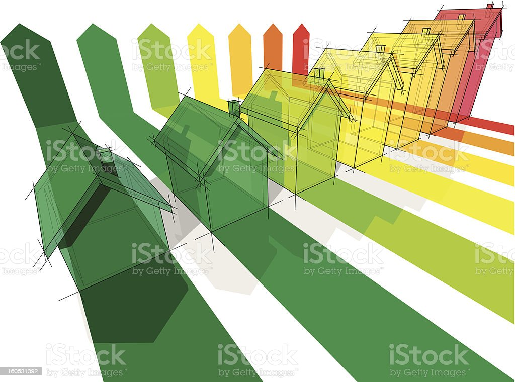 Seven colored drawings of houses vector art illustration
