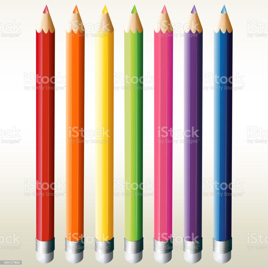 Seven colorful pencils royalty-free stock vector art