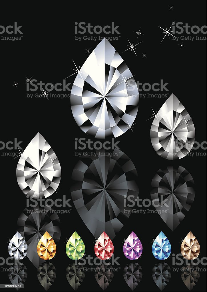 Seven colours of Precious Water Drop Gems royalty-free stock vector art