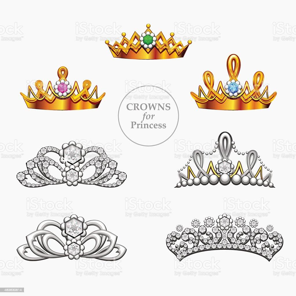 Seven crowns for a princess vector art illustration