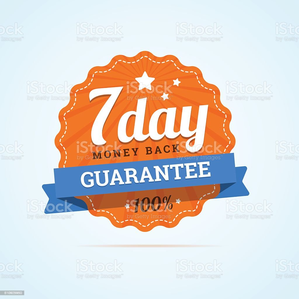 Seven day guarantee money back badge. vector art illustration