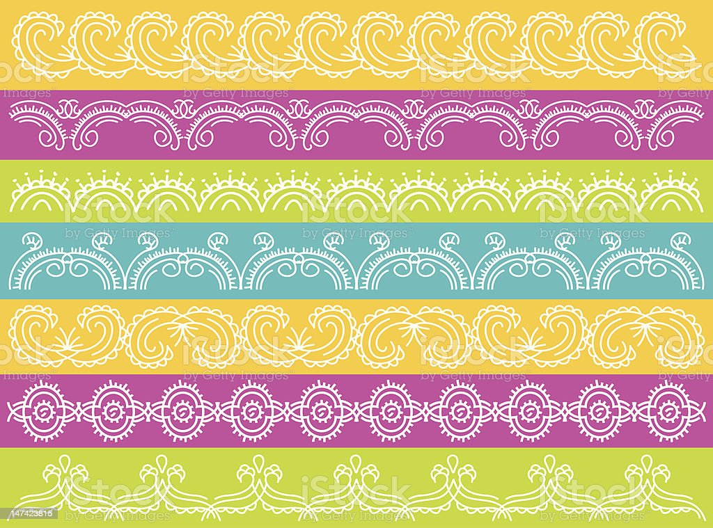 seven decorative lines over color background royalty-free stock vector art