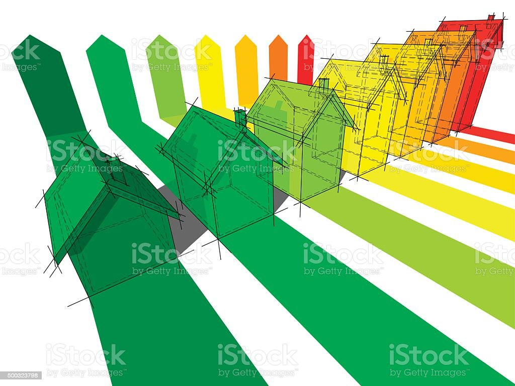 Seven houses vector art illustration