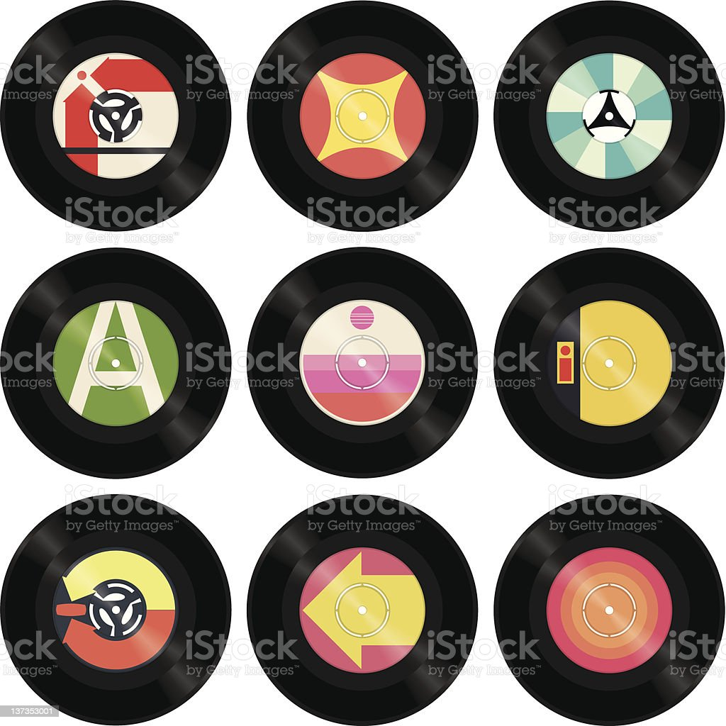 Seven Inch Singles vector art illustration