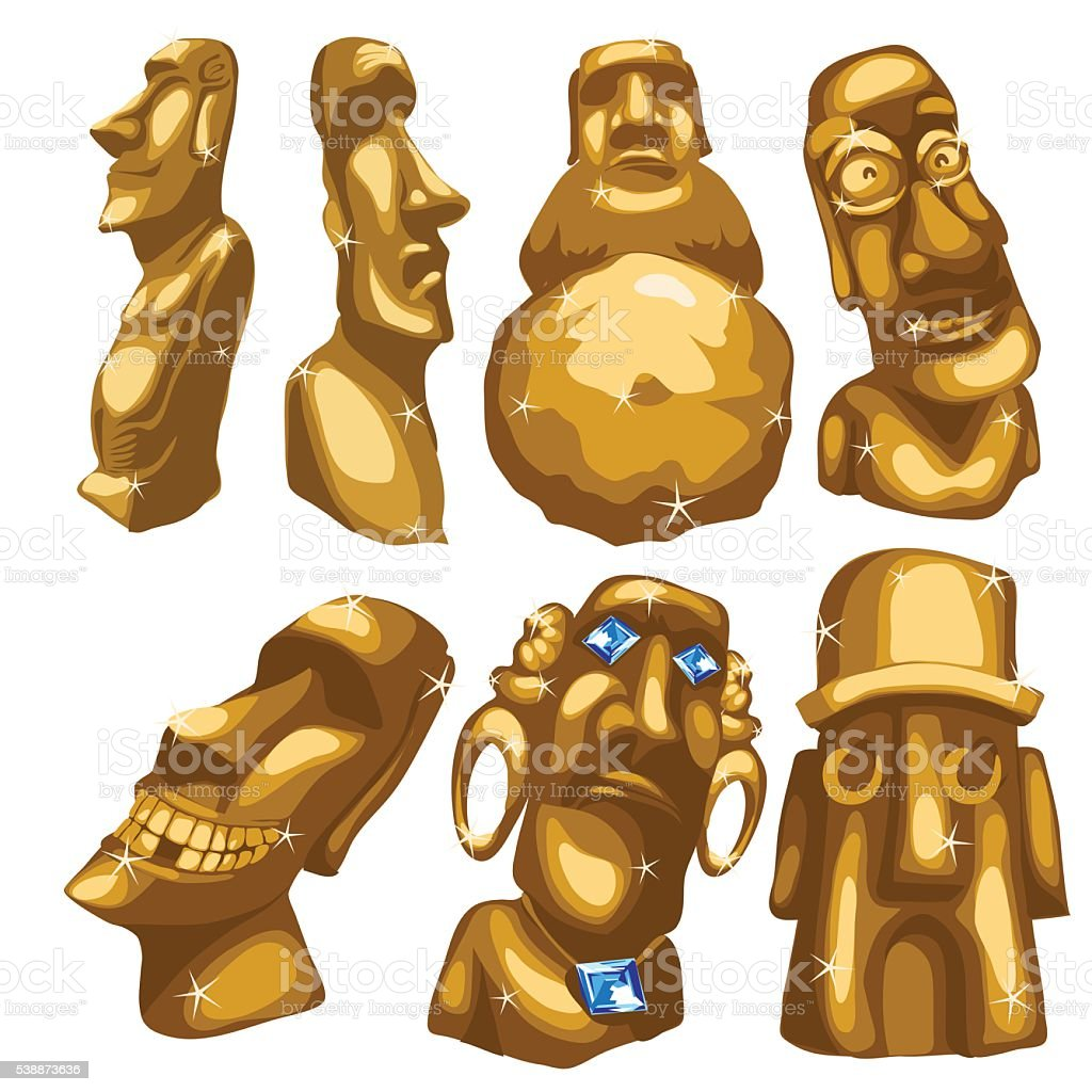 Seven Maya sculptures from gold isolated vector art illustration