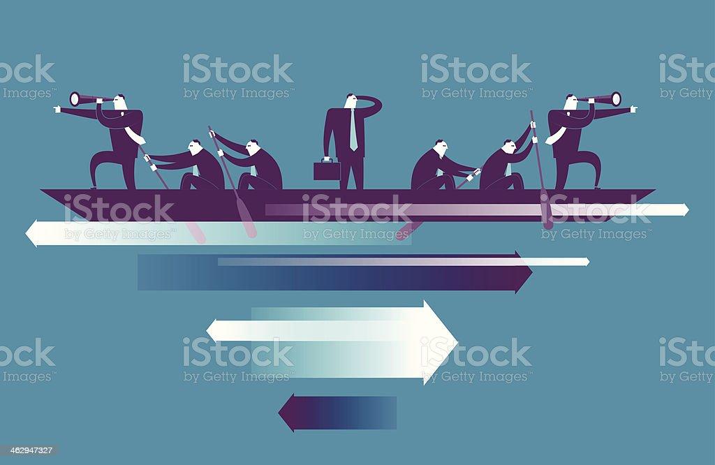 Seven men in boat with arrows below royalty-free stock vector art