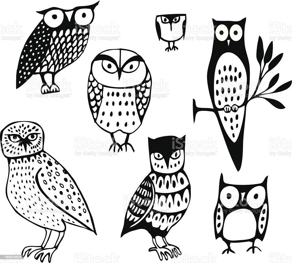Seven Owls vector art illustration