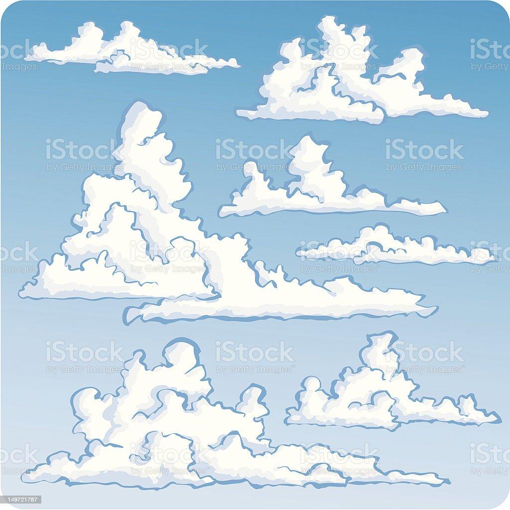 Seven Spiffy Clouds vector art illustration