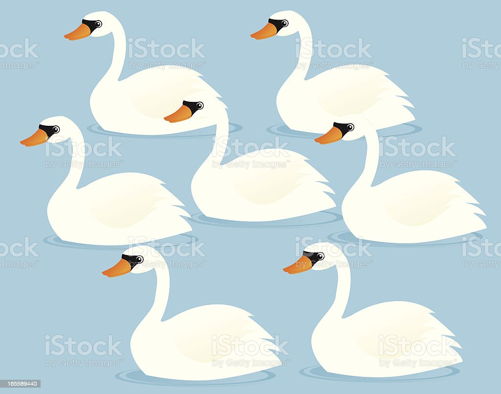 Seven Swans a-Swimming royalty-free stock vector art