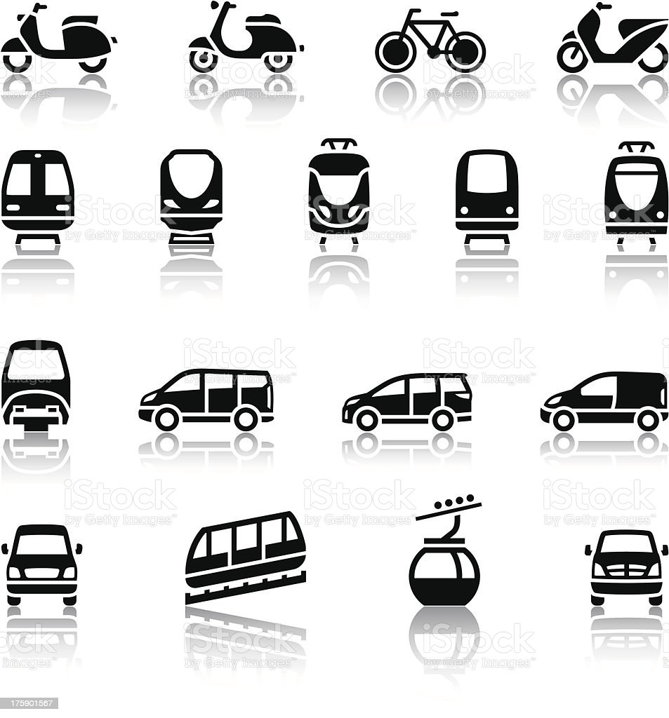 Seventeen - transport icons vector art illustration