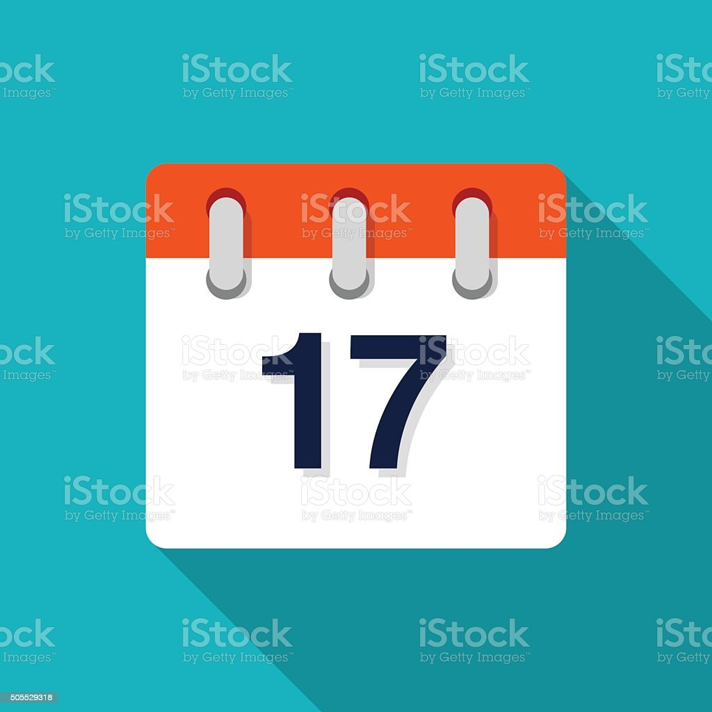 Seventeenth Flat Design Calendar Icon - VECTOR vector art illustration