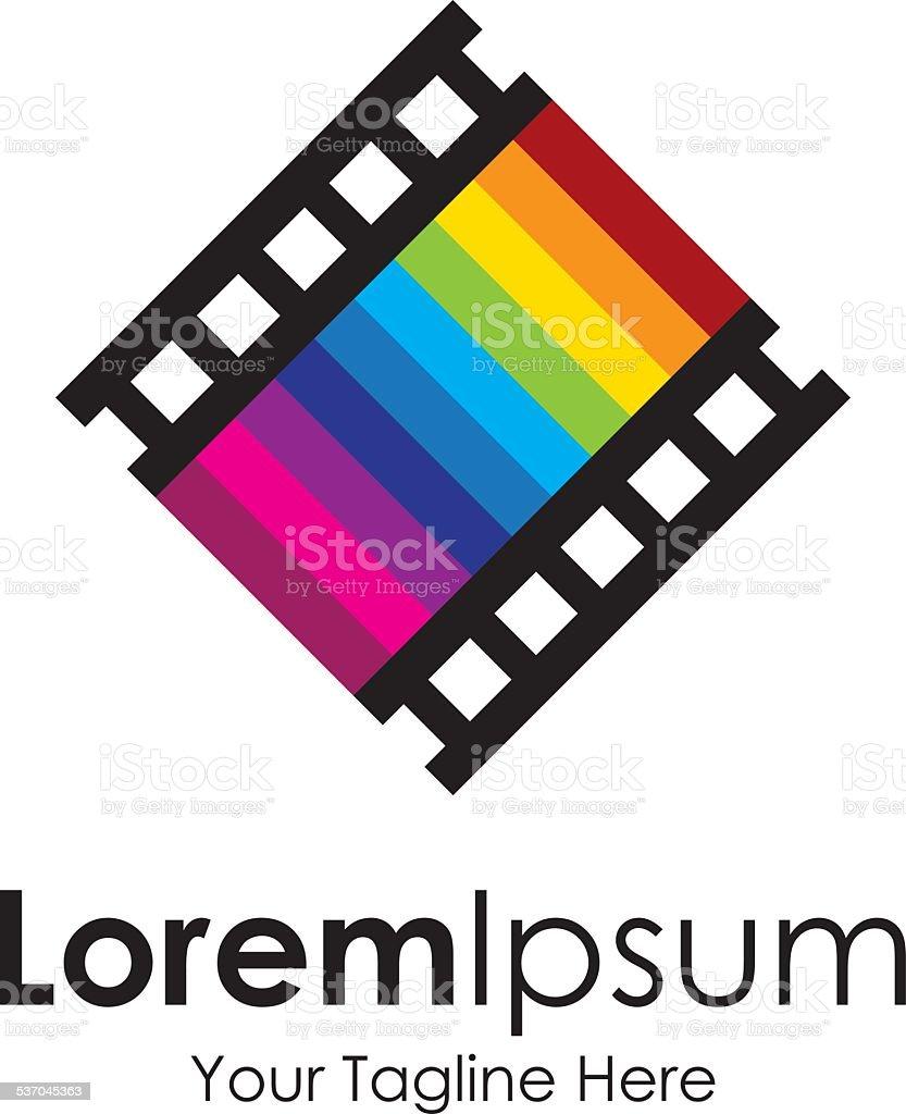 Seventh art love movie track icon simple elements logo vector art illustration