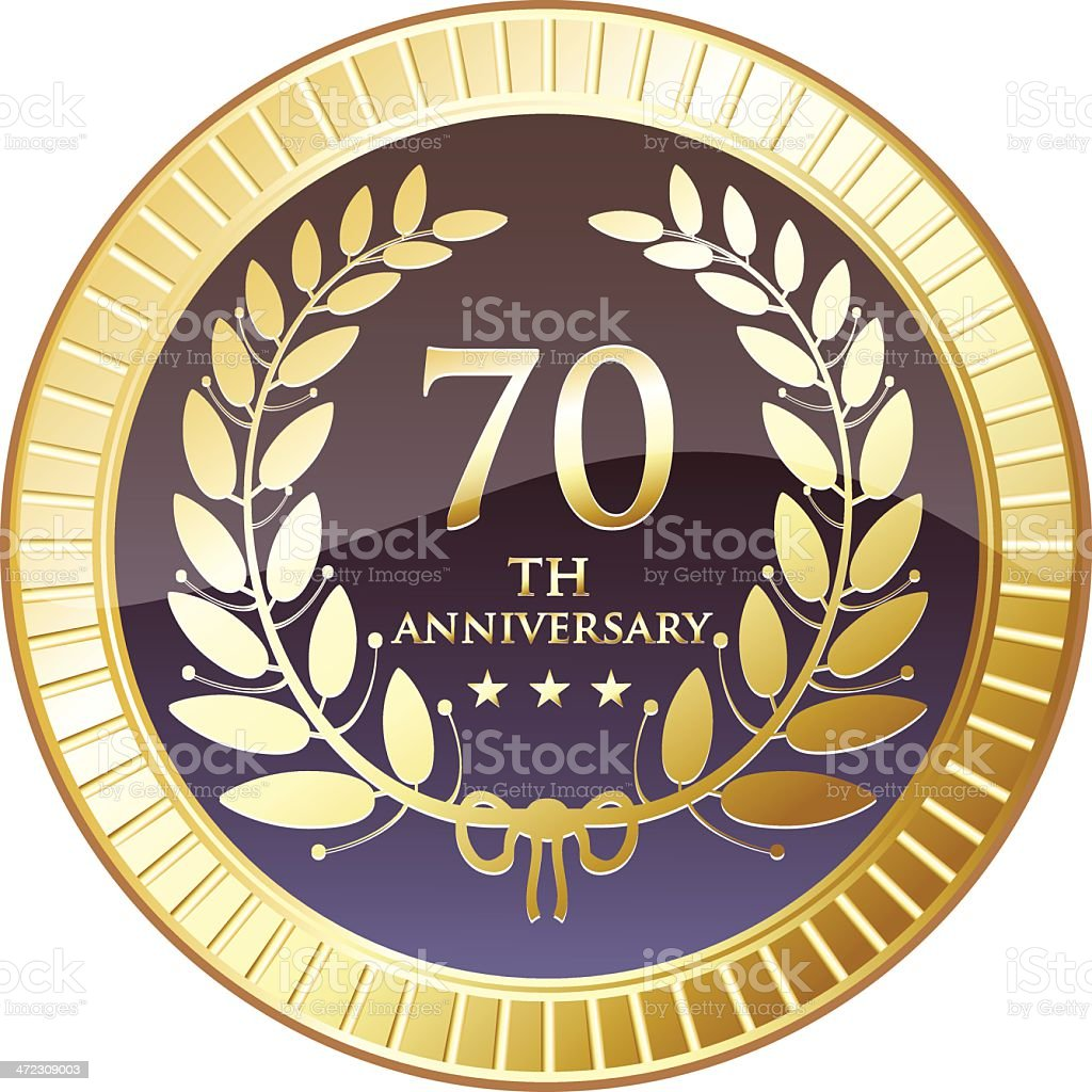 Seventieth Anniversary Shield royalty-free stock vector art