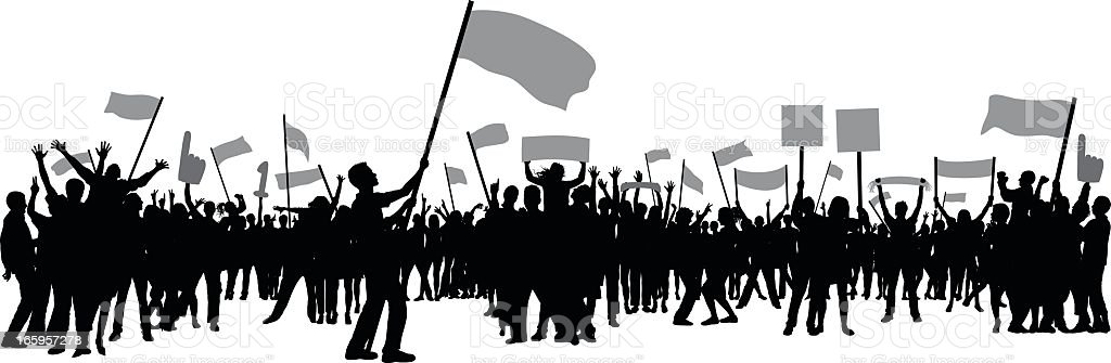 Seventy Nine People with Flags and Banners vector art illustration