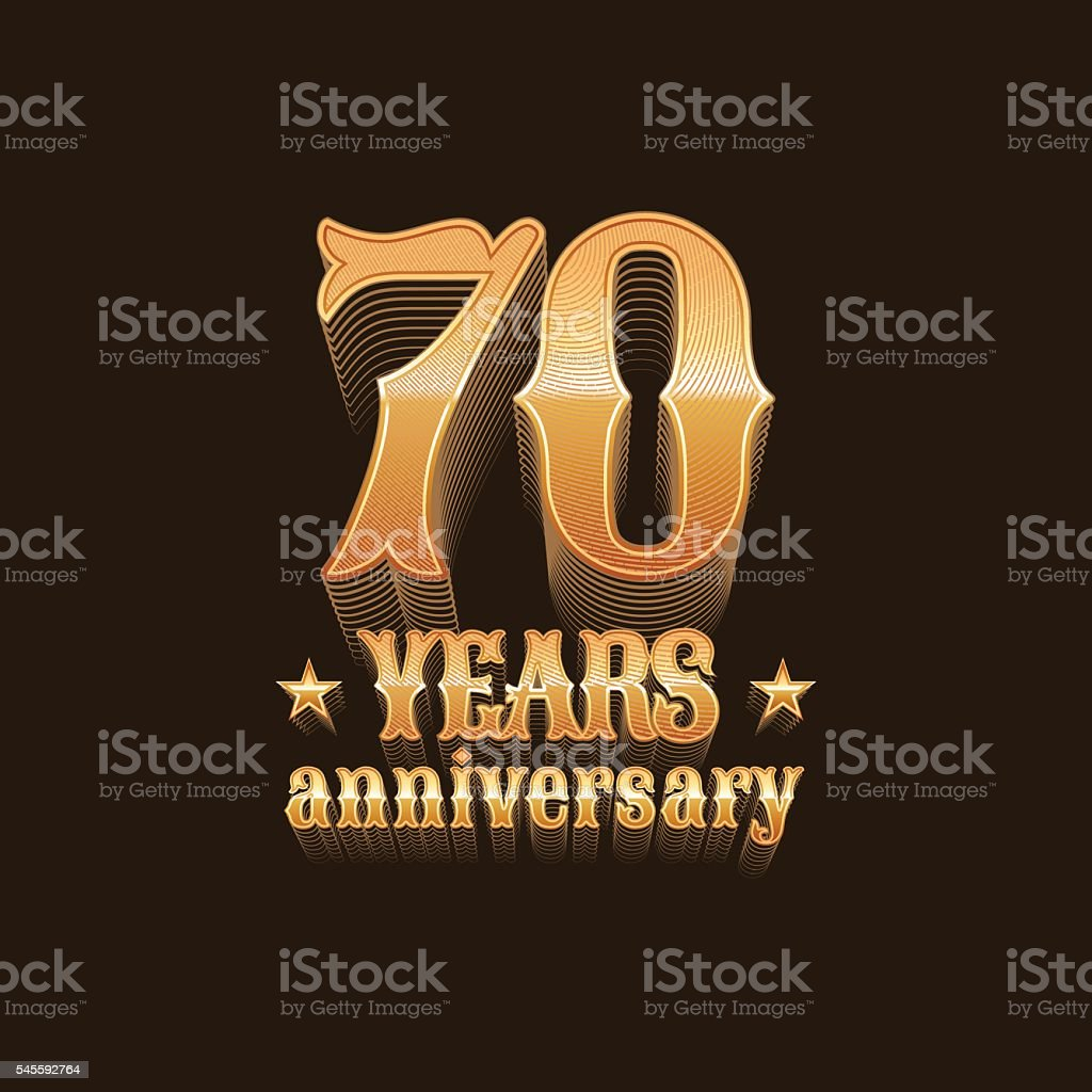 Seventy years anniversary vector icon vector art illustration