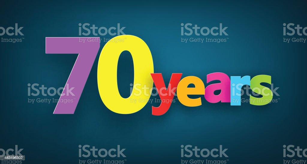 Seventy years paper sign vector art illustration