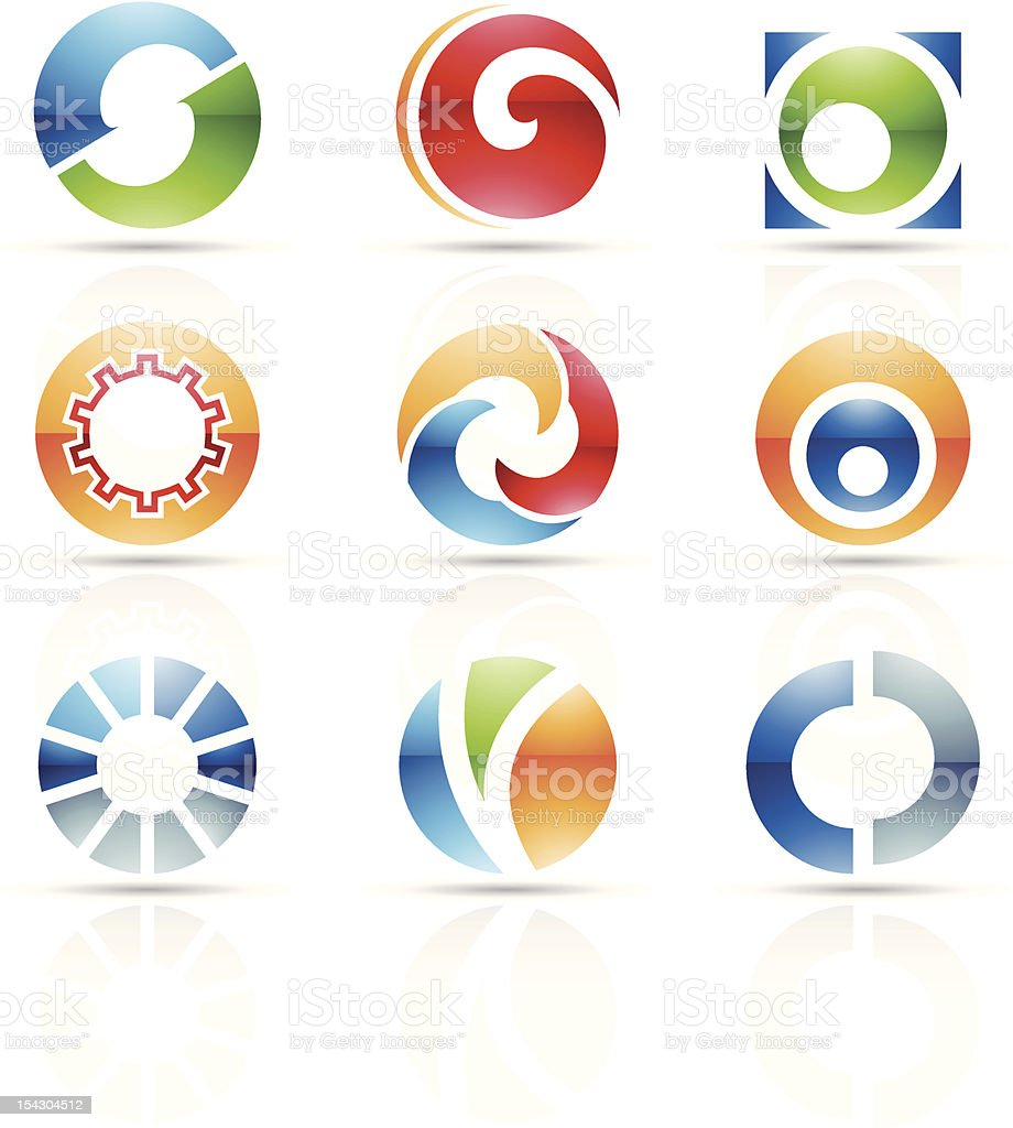 Several abstract icons for letter O vector art illustration