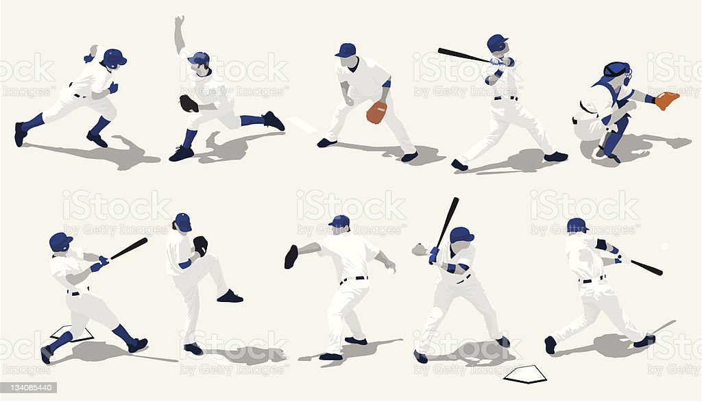 Several baseball players in different positions vector art illustration