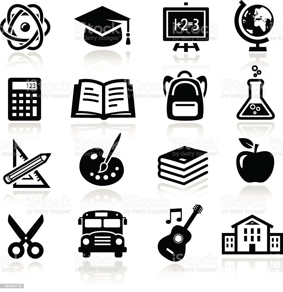 Several black educational icons on a white background vector art illustration