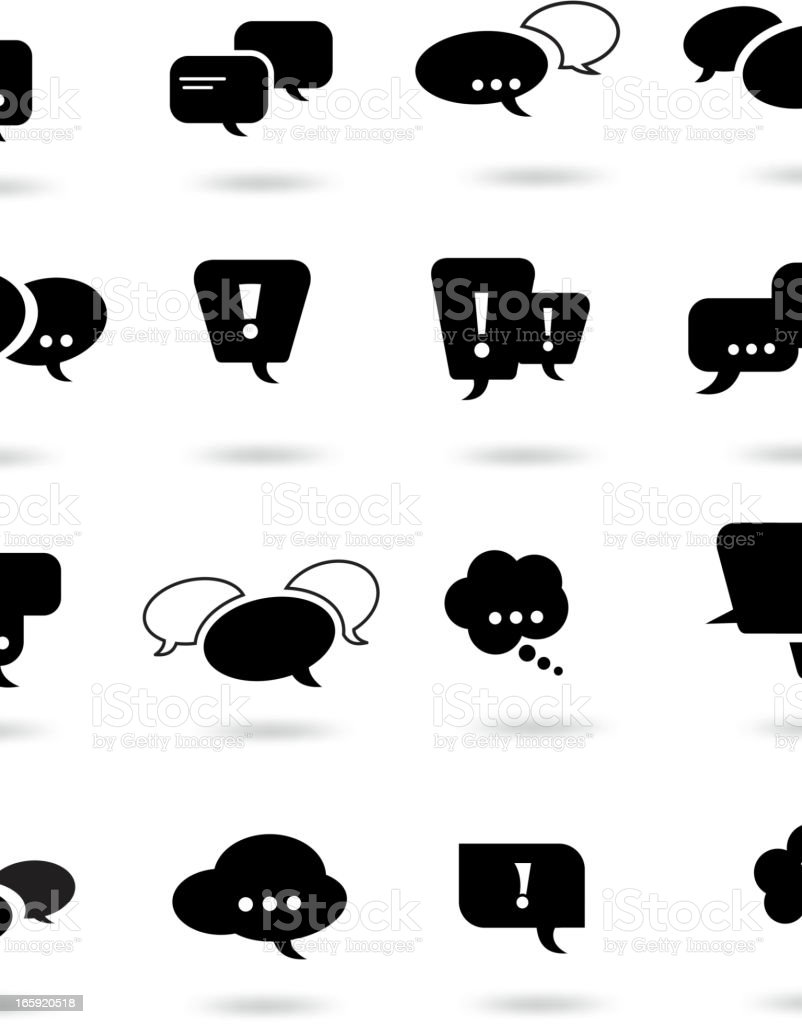 Several black speech bubble related icons royalty-free stock vector art