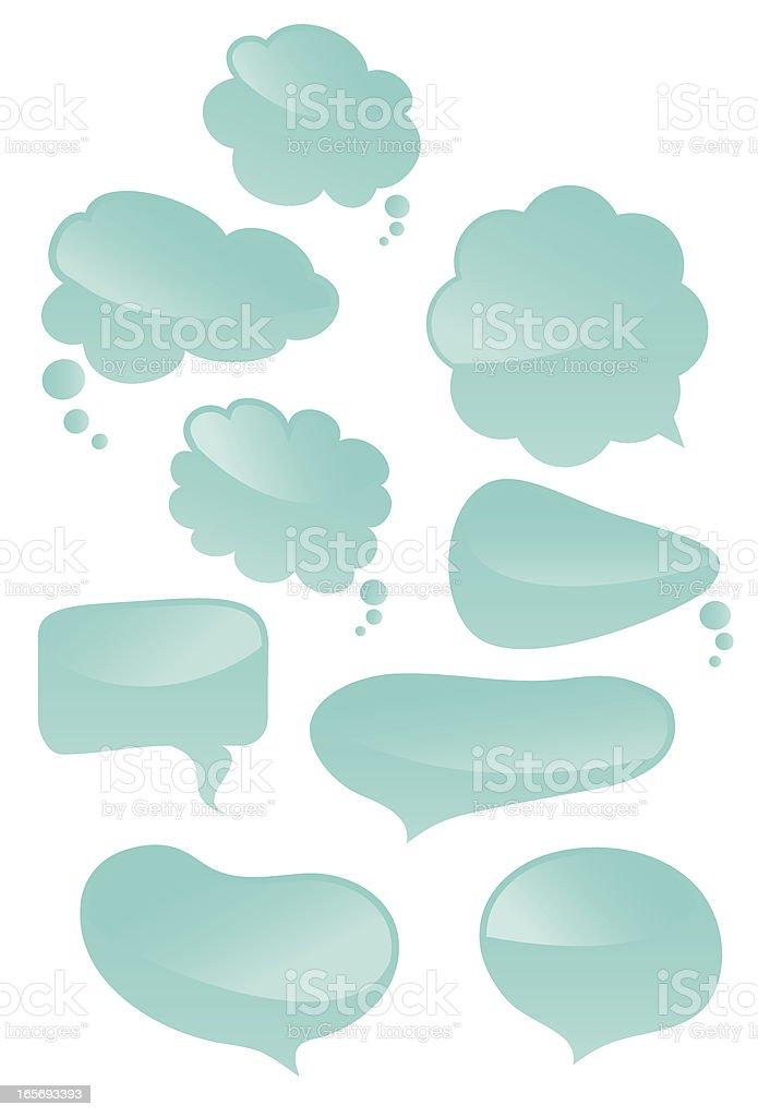 Several blue, empty speech bubbles royalty-free stock vector art