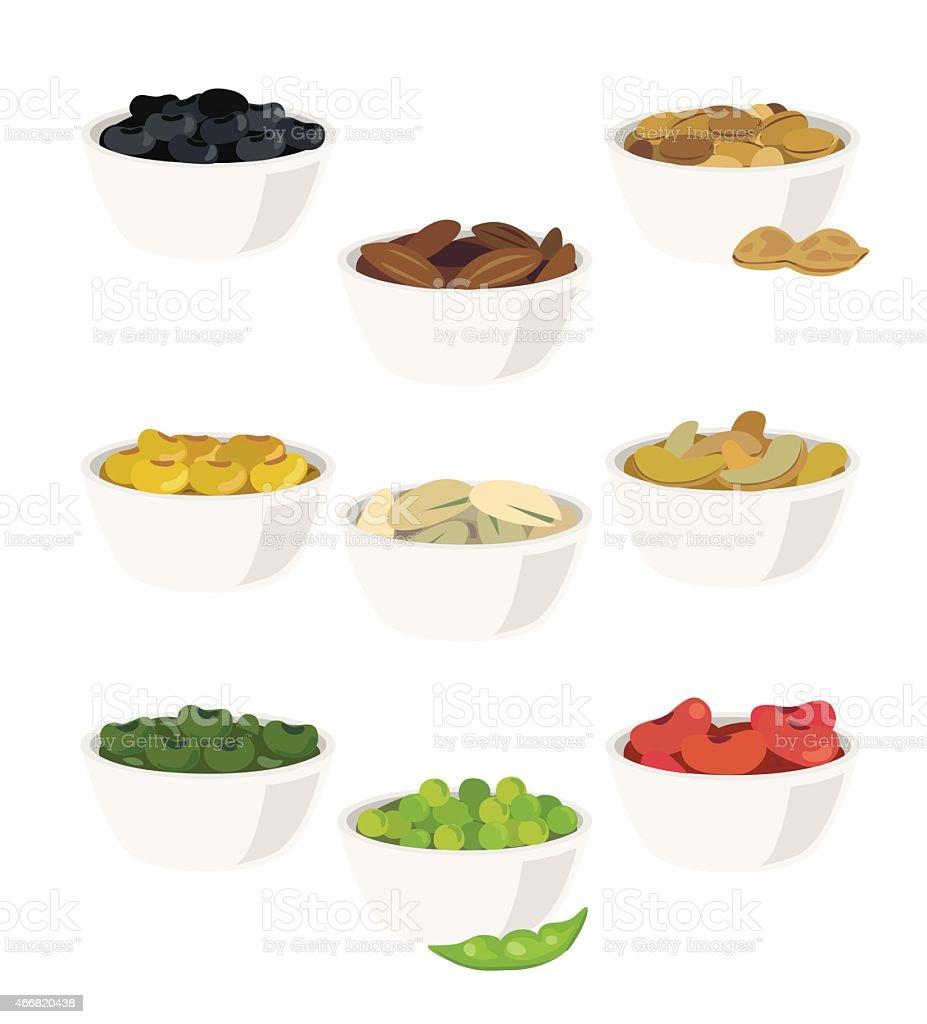 Several bowls of beans in a vector illustration vector art illustration
