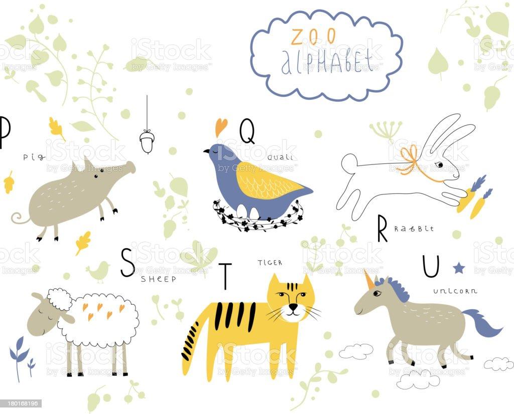 Several cartoon zoo animals representing the alphabet royalty-free stock vector art