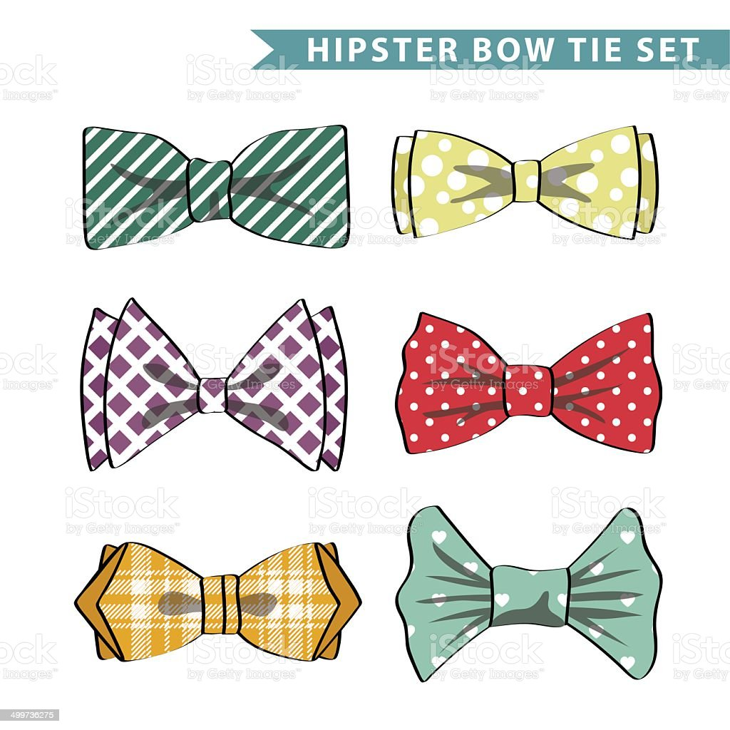 Several colored  bow tie with simple pattern vector art illustration