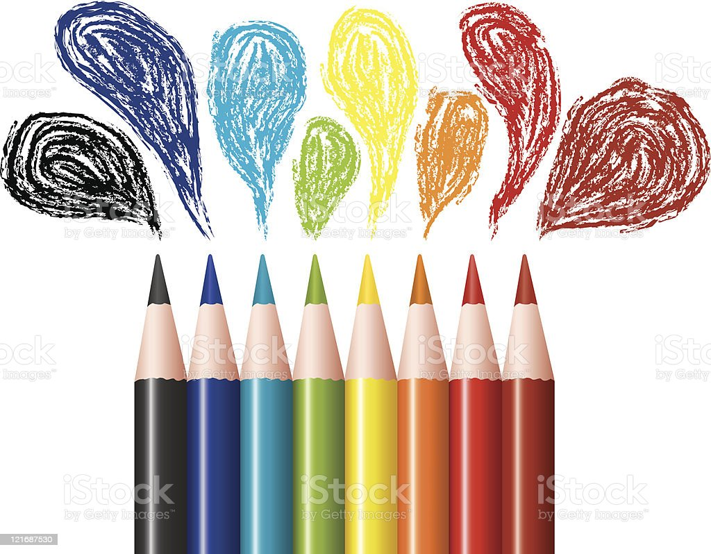 Several colored pencils with drawn bubbles royalty-free stock vector art