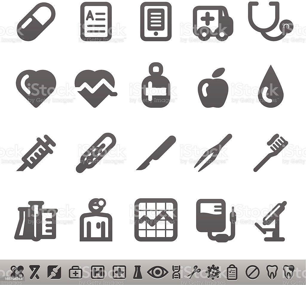 Several different icons representing the medical field  vector art illustration