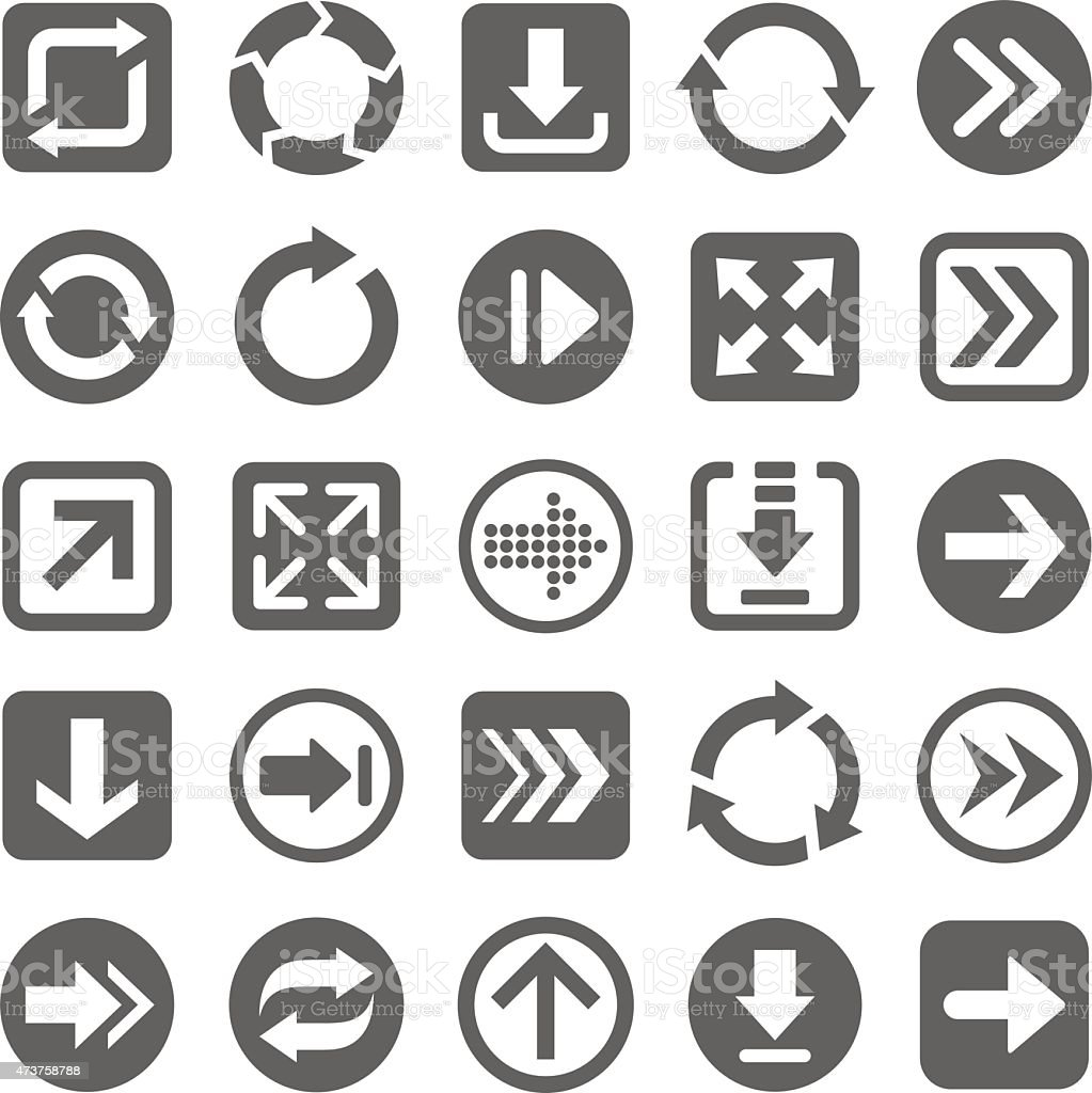 Several gray arrow icons on a white background vector art illustration