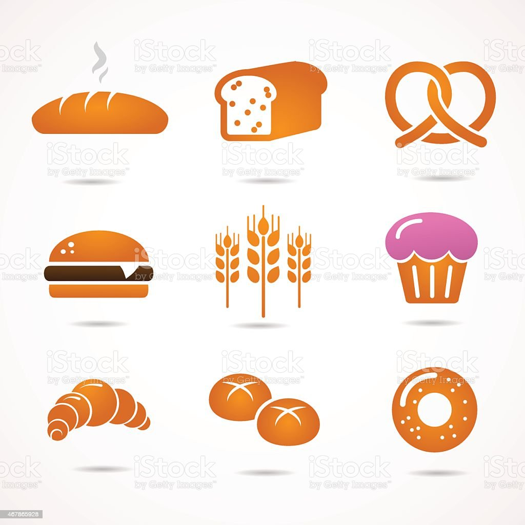 Several icons of bread on white background vector art illustration